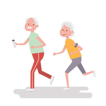 armband: Senior people on scamper . Elderly woman run with armband for jogging. Adult people sport activities. Vector Illustration