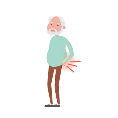 Illustration of backache in Senior man. Vector Illustration