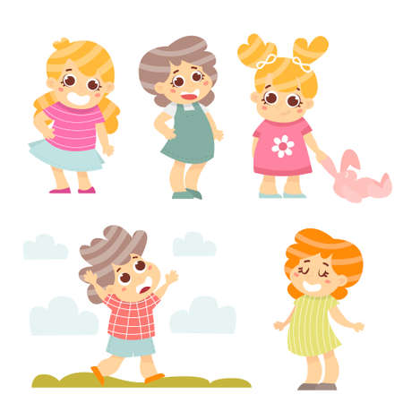 companionship: Happy kids set. 5 cartoon Kids characters isolated on white. Vector Illustration