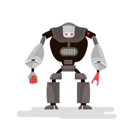 Cartoon robot character. Robot warrior isolated on white. Vector Illustration