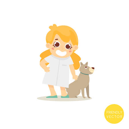 Happy veterinar woman with dog isolated on white.Veterinar character. Pets clinic.Vector Illustration