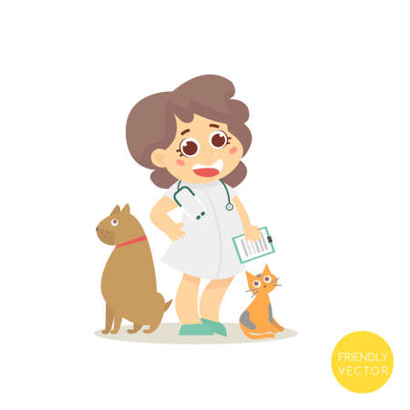 group therapy: Veterinary with dog and cat isolated on white.Vector Illustration Illustration