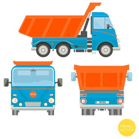 Cartoon transport. Dump truck vector illustration. View from side, back, front