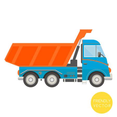 tractor trailer: Cartoon transport. Dump truck vector illustration. View from side. Illustration