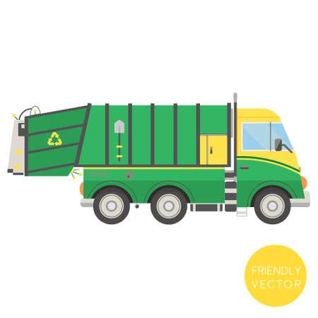 Cartoon transport. Garbage truck vector illustration. View from side. Illustration