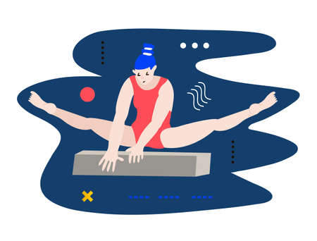 Young gymnast woman doing exercise. Creative vector illustration made in abstract composition