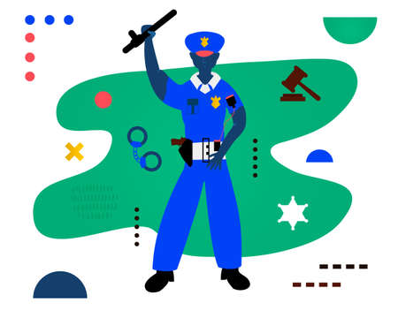 The policeman. Policeman Character Design. Creative vector illustration made in abstract composition