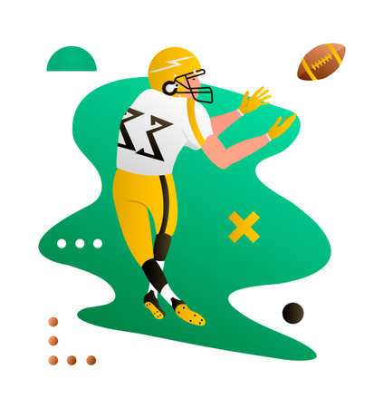 American foorball player catching the ball. Cartoon character. Creative vector illustration