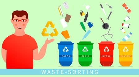 Un homme informe sur le tri des ordures. Les poubelles sont des illustrations vectorielles à plat. Tri des déchets. Vecteurs