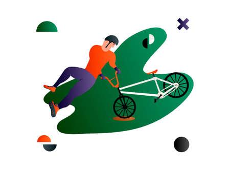 Bmx. Cavalier de bmx plat de dessin animé de vecteur faisant un tour. Illustration de vecteur créatif faite dans la composition abstraite