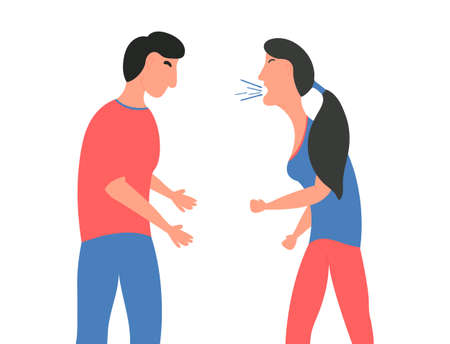 Violence in family. The girl screams at the guy. Wife shouts at her husband. Vector illustration