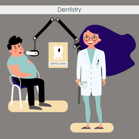 Dentist with a patient. Treatment of dental caries. Vector illustration
