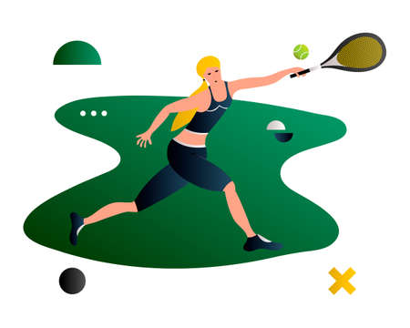 Tennis. Vector cartoon flat tennis player. Female tennis player. Creative vector illustration made in abstract composition
