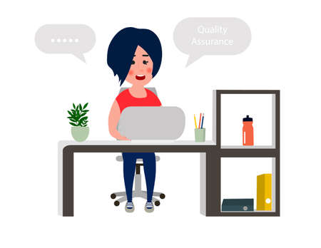 Young girl developer working at office table. Programmer working on computer. Vector illustration