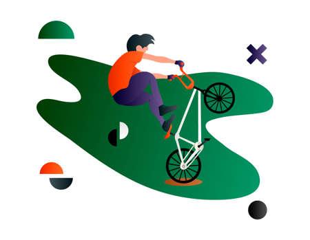 Bmx. Vector cartoon flat bmx rider. Bmx sport art. Creative vector illustration made in abstract composition Ilustração