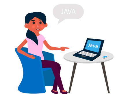 Young girl developer have a rest at office armcheir. Programmer working on computer. Vector illustration