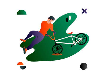 Bmx. Vector cartoon flat bmx rider doing a trick.Creative vector illustration made in abstract composition