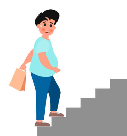 Fat young man climb up the stairs. Vector illustration on white background. Çizim