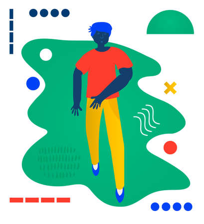 Young man walk. Walks - a man walk. Creative vector illustration made in abstract composition