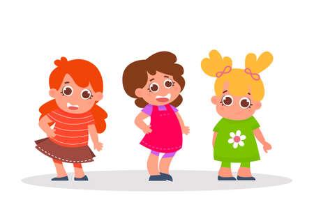 Happy kids set. Three cartoon girls characters isolated on white. Vector Illustration Ilustração