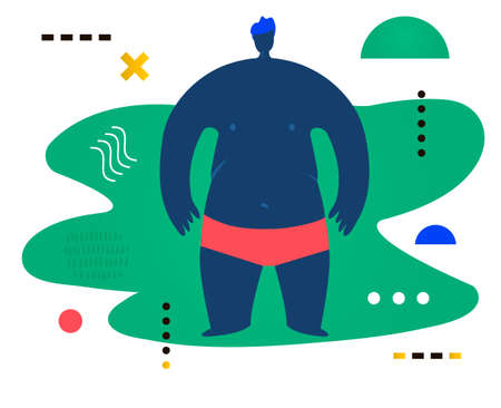 Fat man standing and watching forward. Creative vector illustration made in abstract composition