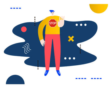 Man gesturing stop sign.Creative vector illustration made in abstract composition Ilustração