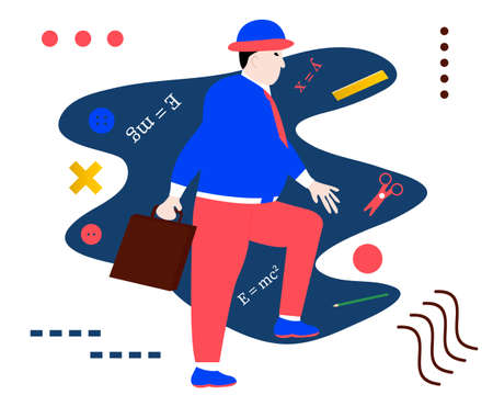 The man making step to success. Creative vector illustration made in abstract composition