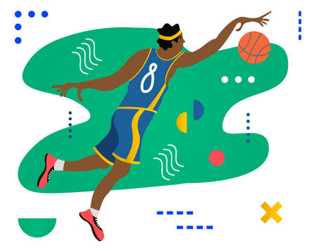 Basketball player with ball. Basketball player doing slam dunk. Creative vector illustration made in abstract composition