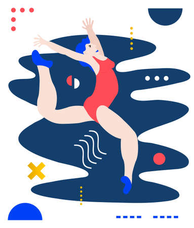 Gymnast woman doing exercise. Creative vector illustration made in abstract composition