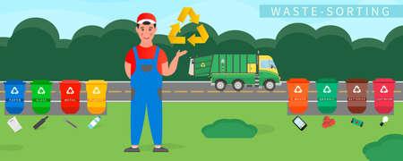 Garbage man in uniform informs about garbage sorting. Garbage cans vector flat illustrations. Waste sorting. Ilustração