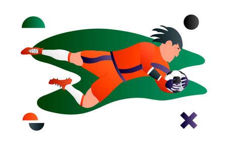 A soccer football player goalkeeper. Cartoon character. Creative vector illustration