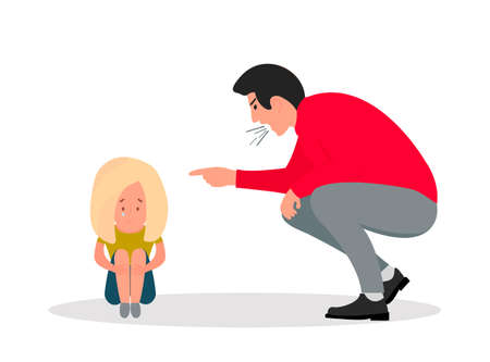Family violence. Angry man screams at scared daughter.Little girl crying covering her face.