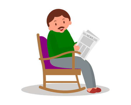 Man sitting in rocking chair. Man leisure time. Youg man reading newspaper. Cute man at home. Vector illustration.