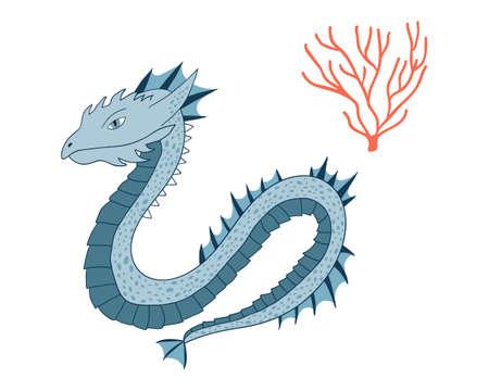 Sea Dragon.Cartoon animal character.Vector illustration isolated on white background.