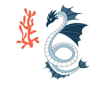 Sea Dragon.Cartoon animal character.Vector illustration isolated on white background.