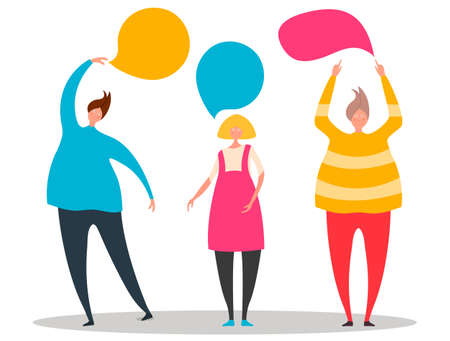 Vector illustration, flat style, cute people point to speech bubbles. Creative design with man and woman silhouettes.Vector illustration. Ilustração