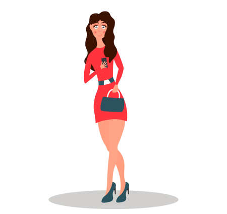 Young girl is checking own smartphone. Woman is scrolling news feed.Vector illustration on white background in cartoon style