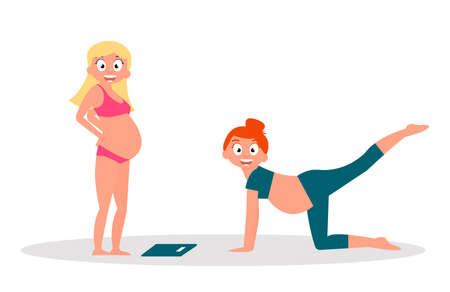 Group of pregnant women, health care, yoga, nutrition.Vector Illustration Baby care concept. Stock Illustratie