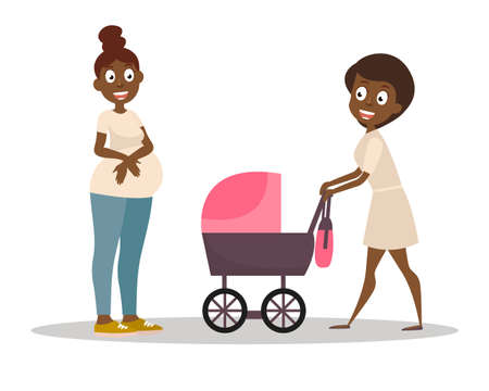 Group of women. Mom pushing her baby in a stroller. Dark-skinned pregnant woman on the walk. Vector Illustration Baby care concept.