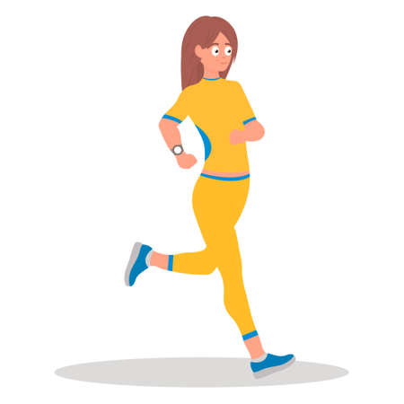 Running girl, run.Young white girl running. Sporty girl exercising. Healthy lifestyle and sport concept. Ilustração