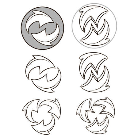Arrows cycle.Vector icons set collection.Vector black symbols isolated on white background Ilustração