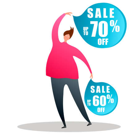 Cartoon character points to the sale badges.Vector illustration on white background in cartoon style Ilustração