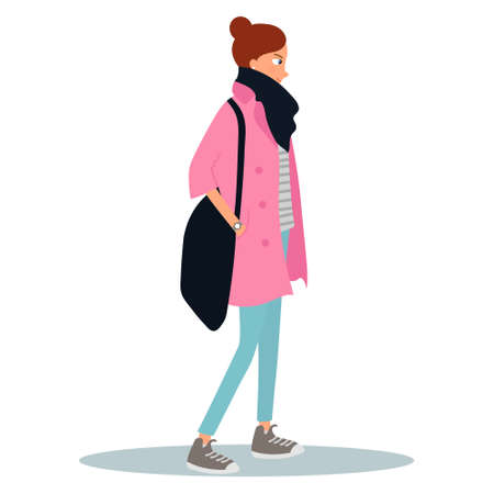 Young woman dressed in coat and holding a bag. Female cartoon character isolated on white background. Street style look. Vector illustration on white background in cartoon style