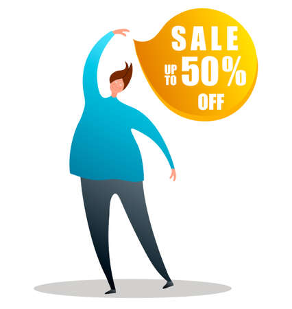 Cartoon character points to the sale badge.Vector illustration on white background in cartoon style