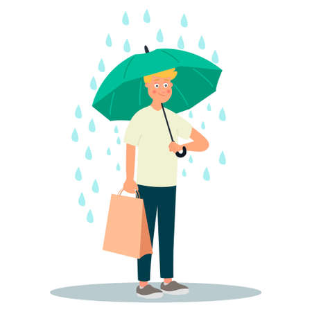Young man character hold umbrella under rain.Vector illustration on white background in cartoon style Ilustração
