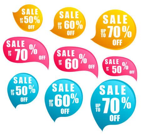 Sale - stickers set. Season sales sign, best price label.Shopping badges. Cartoon vector illustration isolated symbols set. Ilustração