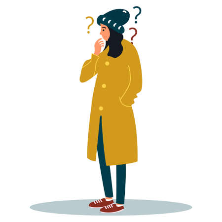 Thinking woman with question marks.Puzzled young girl.Surprised young woman. Vector illustration on white background. Ilustração