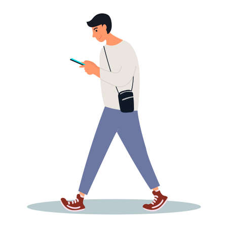 A young man looks at his smartphone on a walk. Man is scrolling news feed.Vector illustration on white background in cartoon style.