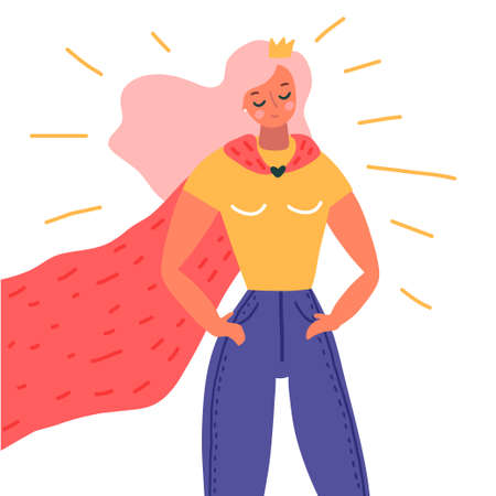 Superhero woman illustration. Girls power concept. Vector illustration on white background in cartoon style Ilustração
