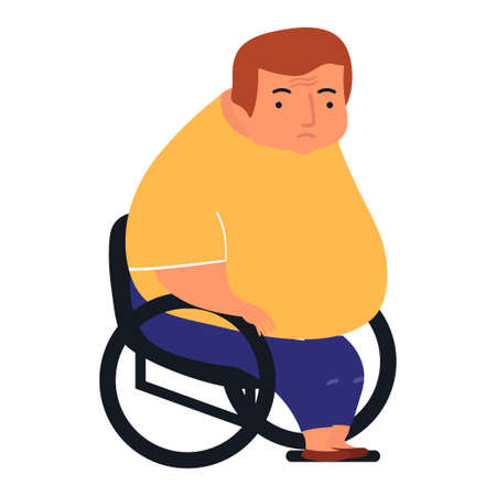Young fat man sitting in disabled carriage.Patient sitting in wheelchair. Vector illustration on white background in cartoon style